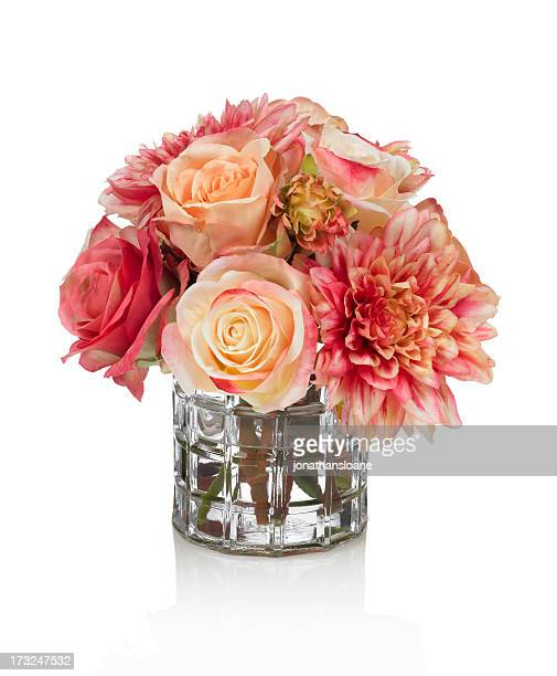 Dahlia and Rose bouquet on white background
