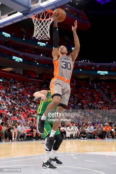 Dahntay Jones of 3's Company attempts a shot while being guarded by Brian Scalabrine of the Ball Hogs during BIG3 Week Four at Little Caesars Arena...