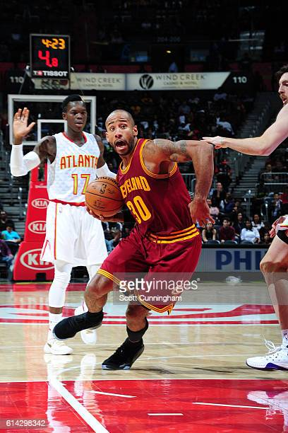 Dahntay Jones of the Cleveland Cavaliers drives to the basket against the Atlanta Hawks on October 10 2016 at Philips Arena in Atlanta Georgia NOTE...