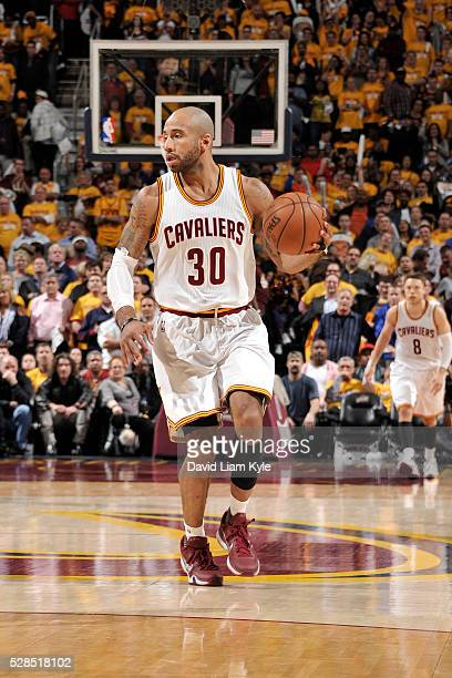 Dahntay Jones of the Cleveland Cavaliers handles the ball against the Atlanta Hawks in Game One of the Eastern Conference Semifinals during the 2016...
