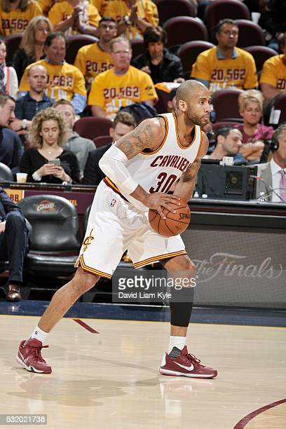Dahntay Jones of the Cleveland Cavaliers handles the ball against the Toronto Raptors in Game One of the Eastern Conference Finals during the 2016...