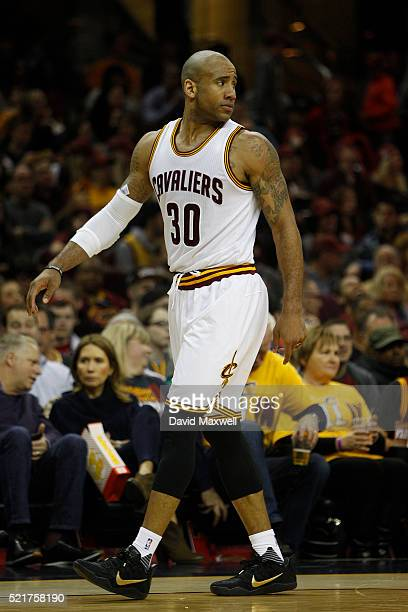 Dahntay Jones of the Cleveland Cavaliers in action against the Detroit Pistons at Quicken Loans Arena on April 13 2016 in Cleveland Ohio The Pistons...