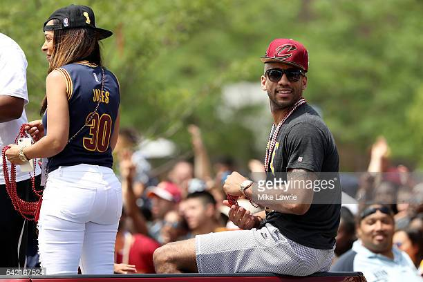 Dahntay Jones of the Cleveland Cavaliers looks on during the Cleveland Cavaliers 2016 NBA Championship victory parade and rally on June 22 2016 in...