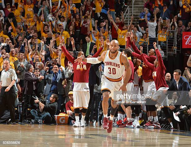 Dahntay Jones of the Cleveland Cavaliers reacts after hitting a three pointer and breaking a record for the most three pointers in a game against the...