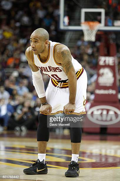 Dahntay Jones of the Cleveland Cavaliers takes to the court against the Detroit Pistons at Quicken Loans Arena on April 13 2016 in Cleveland Ohio The...