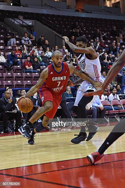 Dahntay Jones of the Grand Rapids Drive drives to the basket during a game against the Raptors 905 at the Hershey Centre on December 16 2015 in...