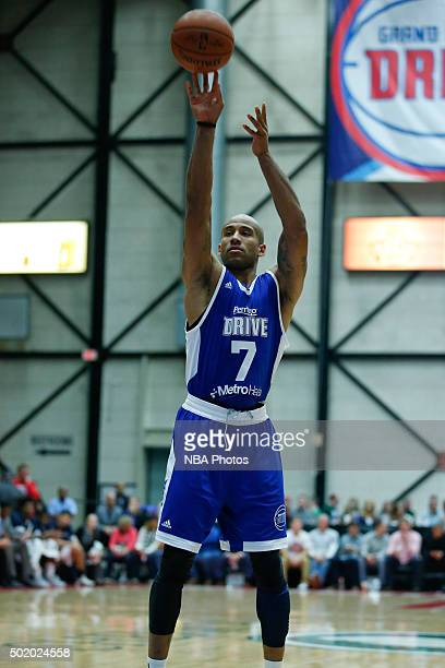 Dahntay Jones of the Grand Rapids Drive shoots a free throw against the Iowa Energy during the second half of an NBA DLeague game on December 19 2015...