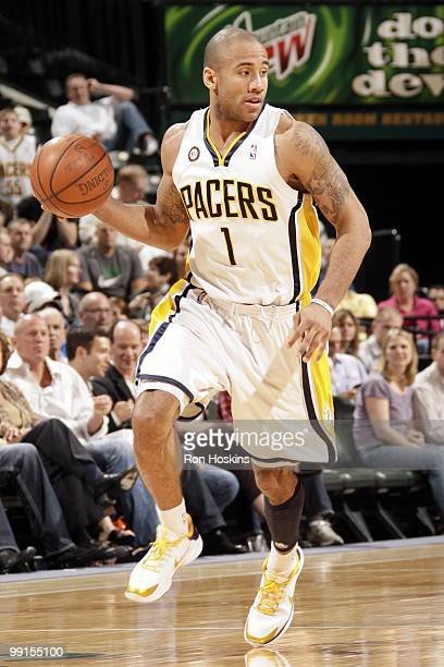 Dahntay Jones of the Indiana Pacers drives to the basket against the Houston Rockets during the game at Conseco Fieldhouse on April 4 2010 in...
