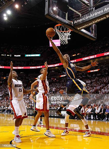 Dahntay Jones of the Indiana Pacers drives to the rim during Game Five of the Eastern Conference Semifinals in the 2012 NBA Playoffs against the...