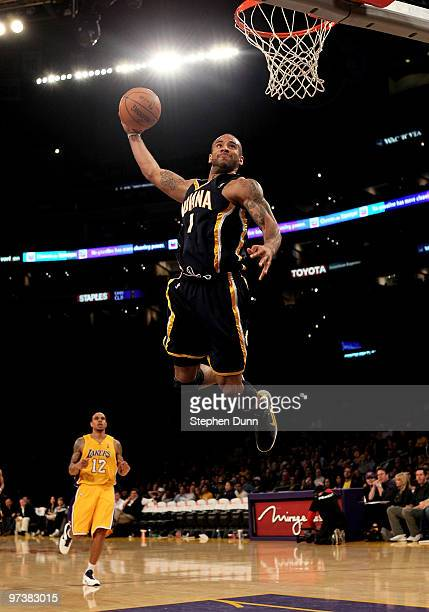 Dahntay Jones of the Indiana Pacers goes up for a breakaway dunk against the Los Angeles Lakers on March 2 2010 at Staples Center in Los Angeles...
