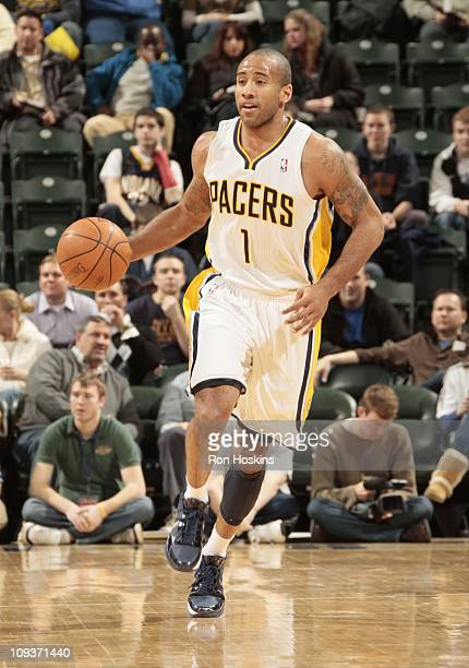 Dahntay Jones of the Indiana Pacers handles the ball during the game against the Toronto Raptors on January 31 2011 at Conseco Fieldhouse in...