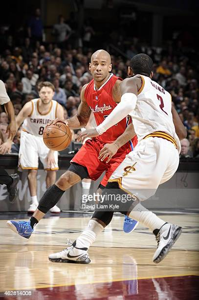 Dahntay Jones of the Los Angeles Clippers handles the ball against the Cleveland Cavaliers during the game on February 5 2015 at Quicken Loans Arena...