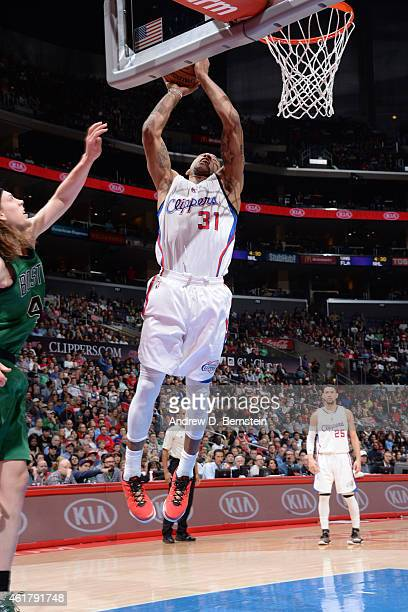 Dahntay Jones of the Los Angeles Clippers shoots the ball against the Boston Celtics during the game on January 19 2015 at STAPLES Center in Los...