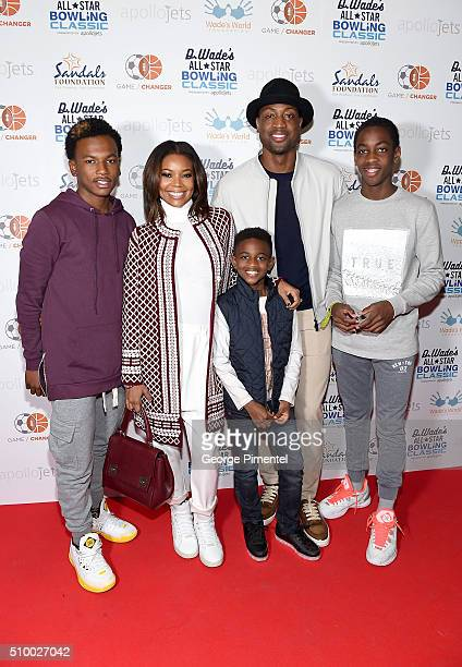 Dahveon Morris, Gabrielle Union, Zion Wade, Dwyane Wade, and Zaire Wade attend the DWade All Star Bowling Classic Benefitting The Sandals Foundation...