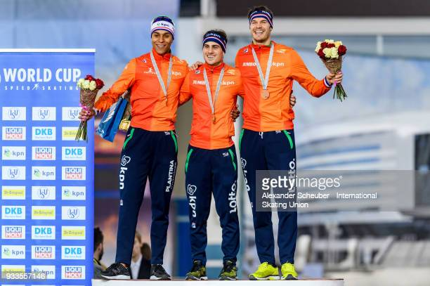 Dai Dai Ntab of the Netherlands Jan Smeekens of the Netherlands and Hein Otterspeer of the Netherlands stand on the podium after the Men's 500m...
