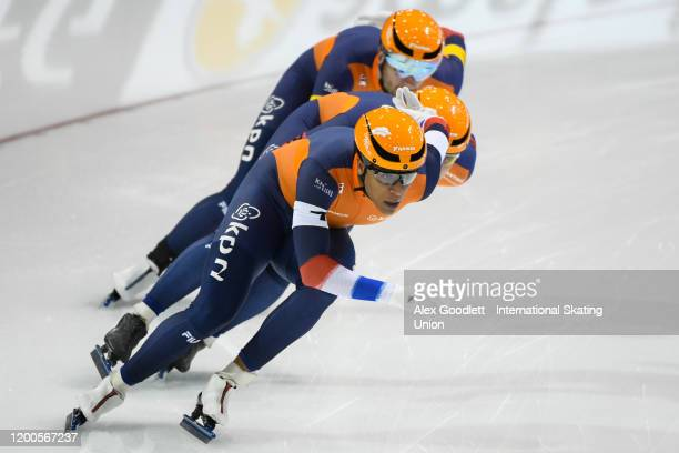 Dai Dai Ntab of the Netherlands leads in the men's team sprint during the ISU World Single Distances Speed Skating Championships on February 13 2020...