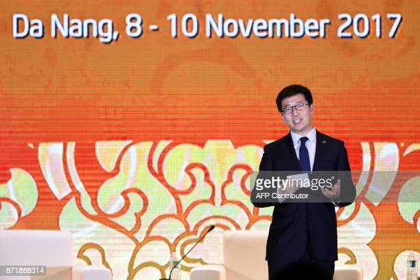 Dai Wei CEO of Ofo gives a 'Game Changer Presentation' on the second day of the APEC CEO Summit taking place ahead of the AsiaPacific Economic...