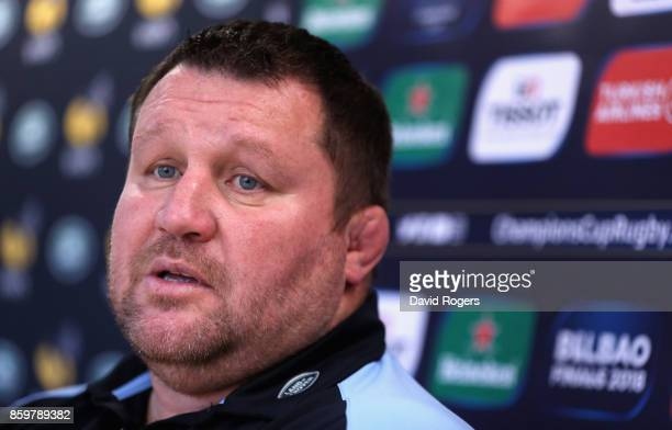 Dai Young the Wasps director of rugby faces the media during the Wasps media session held at their training venue on October 10 2017 in Coventry...