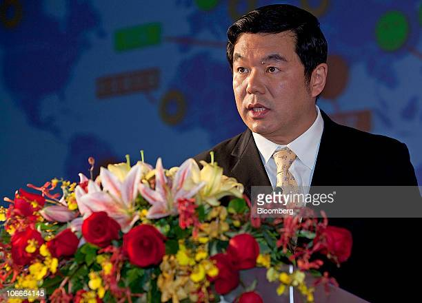 Dai Zhihao vice president of Baosteel Group Corp Ltd speaks at the World Shipping Summit in Guangzhou Guangdong province China on Wednesday Nov 10...