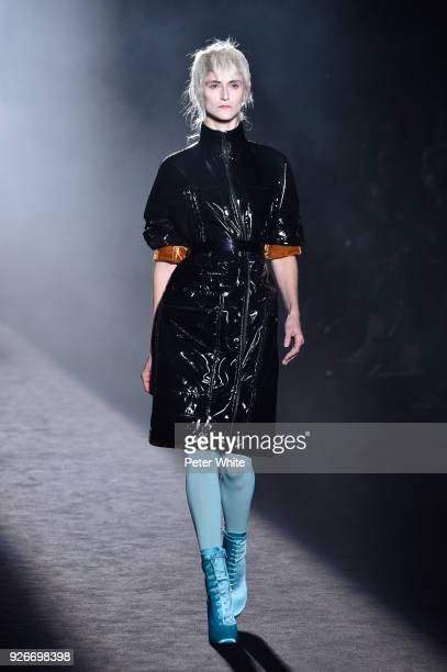 Daiane Conterato walks the runway during the Haider Ackermann show as part of the Paris Fashion Week Womenswear Fall/Winter 2018/2019 on March 3 2018...