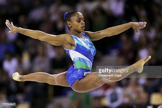 Daiane dos Santos of Brazil performs on the floor in the the womens individual finals during the World Artistic Gymnastics Championships at the NRGi...