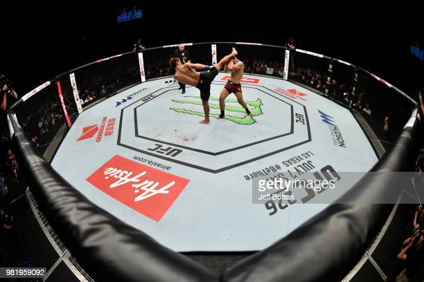 Daichi Abe of Japan kicks Li Jingliang of China in their welterweight bout during the UFC Fight Night event at the Singapore Indoor Stadium on June...