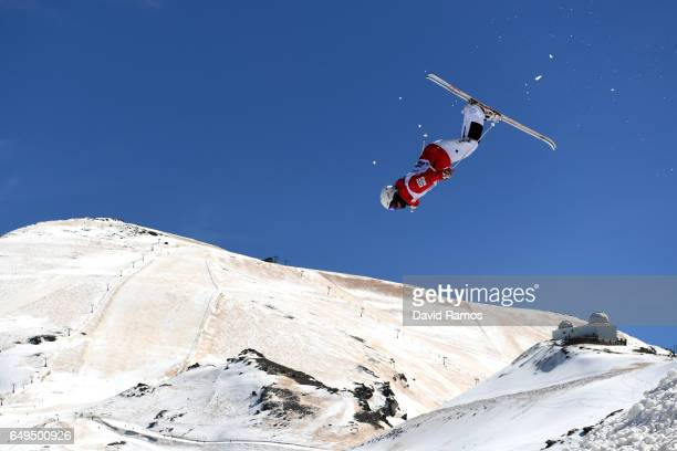Daichi Hara of Japan makes a training jump prior to the Men's Moguls qualification on day one of the FIS Freestyle Ski Snowboard World Championships...