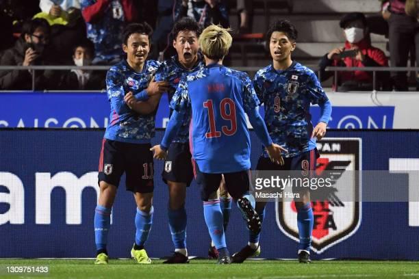 Daichi Hayashi of Japan celebrates the first goal during the U-24 international friendly match between Japan and Argentina at the Kitakyushu Stadium...