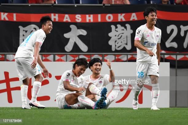 Daichi Hayashi of Sagan Tosu celebrates the second goal during the JLeague Meiji Yasuda J1 match between Urawa Red Diamonds and Sagan Tosu at the...