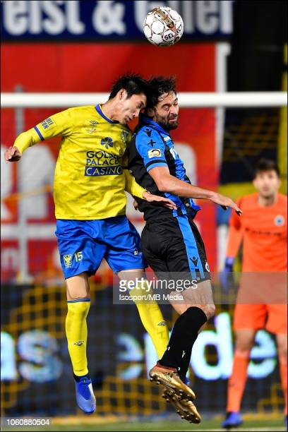 Daichi Kamada and Sofyan Amrabat fight for the ball during the Jupiler Pro League match between SintTruidense VV and Club Brugge at Stayen on October...