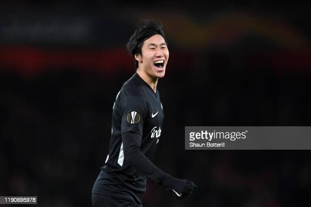Daichi Kamada of Eintracht Frankfurt celebrates after scoring his team's first goal during the UEFA Europa League group F match between Arsenal FC...
