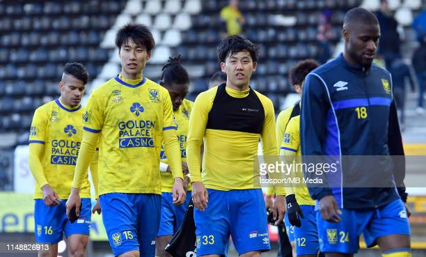 Daichi Kamada of STVV Wataru Endo of STVV and Mamadou Sylla of STVV look dejected during the Jupiler Pro League playoff 2 group A match between...