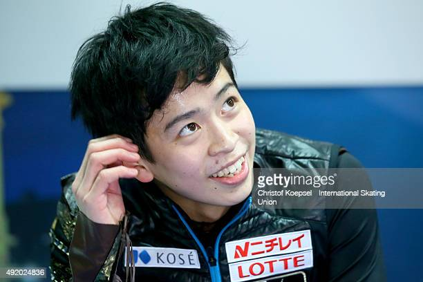 Daichi Miyata of Japan smiles after his presentation of the junior men free skating of the ISU Junior Grand Prix at Dom Sportova on October 9 2015 in...