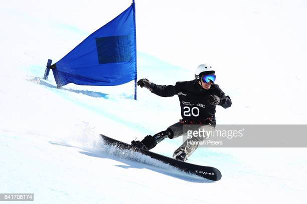 Daichi Oguri of Japan competes in the Men's Banked Slalom Lower Limb 1 Imp final during the Winter Games NZ Para Snowboard Banked Slalom World Cup...