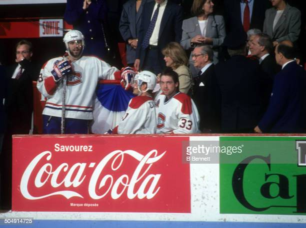 J Daigneault Guy Carbonneau and goalie Patrick Roy of the Montreal Canadiens look on from the bench before Game 2 of the 1993 Stanley Cup Finals...