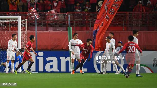 Daigo Nishi of Kashima Antlers celebrates scoring his side's second goal during the AFC Champions League Round of 16 first leg match between Kashima...