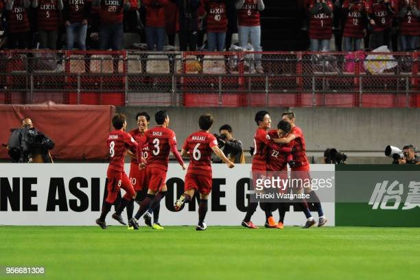 Daigo Nishi of Kashima Antlers celebrates scoring his side's second goal with his team mates during the AFC Champions League Round of 16 first leg...