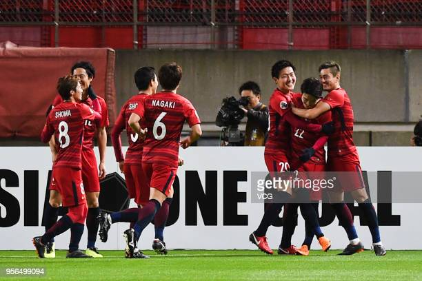 Daigo Nishi of Kashima Antlers celebrates with team mates after scoring his team's second goal during the AFC Champions League Round of 16 first leg...