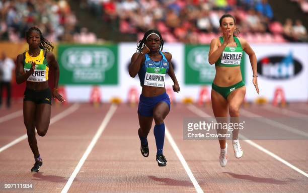 Daija Lampkin of The USA in action during heat 3 of the women's 100m semi finals on day three of The IAAF World U20 Championships on July 12 2018 in...
