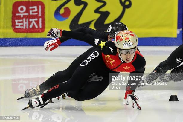 Daijing Wu of China competes in the Mens 500m Final A during the Audi ISU World Cup Short Track Speed Skating at Mokdong Ice Rink on November 18 2017...