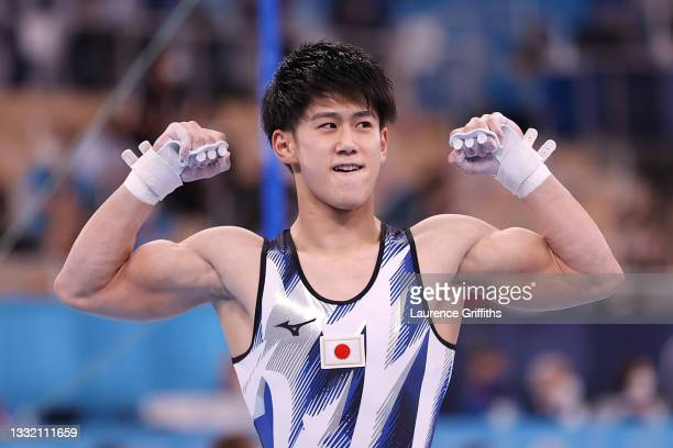 Daiki Hashimoto of Team Japan celebrates following his performance during the Men's Horizontal Bar Final on day eleven of the Tokyo 2020 Olympic...