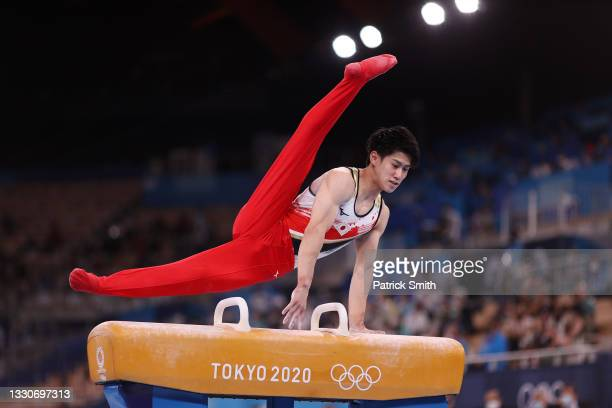 Daiki Hashimoto of Team Japan competes on pommel horse during the Men's Team Final on day three of the Tokyo 2020 Olympic Games at Ariake Gymnastics...