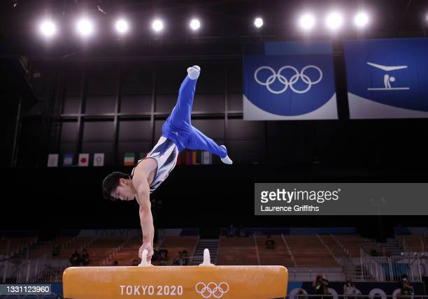 Daiki Hashimoto of Team Japan competes on pommel horse on his way to a Gold Medal during the Men's All-Around Final on day five of the Tokyo 2020...