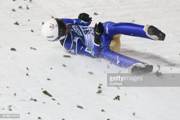 Daiki Ito competes in the individual competition during the FIS Ski Jumping World Cup on November 19 2017 in Wisla Poland