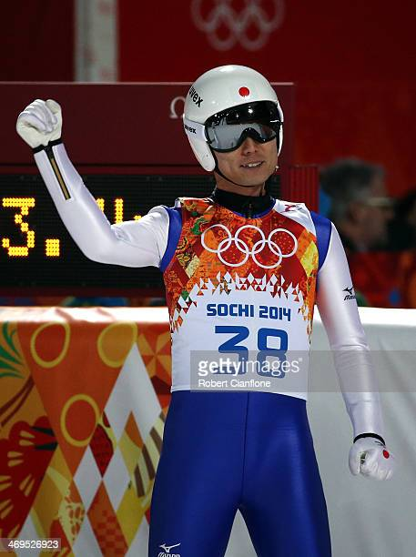 Daiki Ito of Japan celebrates after landing his jump during the Men's Large Hill Individual 1st Round on day eight of the Sochi 2014 Winter Olympics...