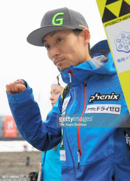 Daiki Ito of Japan celebrates his fourth finish in the Men's Individual Large Hill during day two of the FIS Ski Jumping World Cup Oslo on March 12...