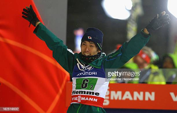 Daiki Ito of Japan celebrates victory during the Mixed Team Ski Jumping HS 106 Final Round at the FIS Nordic World Ski Championships on February 24...