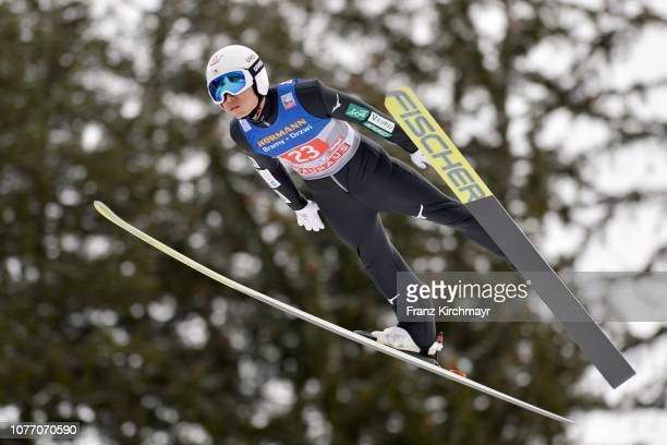 Daiki Ito of Japan competes during the 67th FIS Nordic World Cup Four Hills Tournament ski jumping event at Bergisl Schanze on January 4 2019 in...