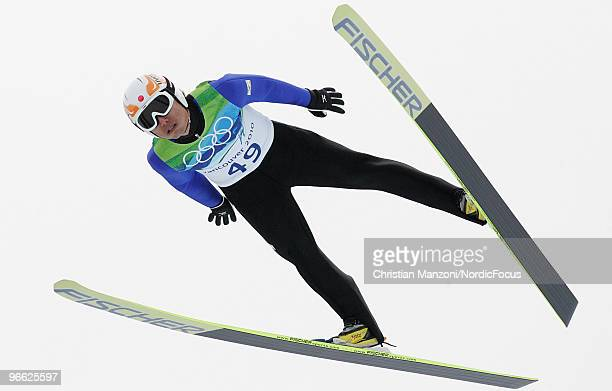 Daiki Ito of Japan competes during the Ski Jumping Normal Hill Individual Qualification Round at the Olympic Winter Games Vancouver 2010 ski jumping...