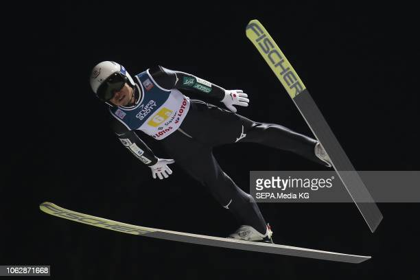 Daiki Ito of Japan competes during the team competition of the FIS SKI Jumping World Cup at Malinka HS134 Jumping Hill on November 17 2018 in Wisla...
